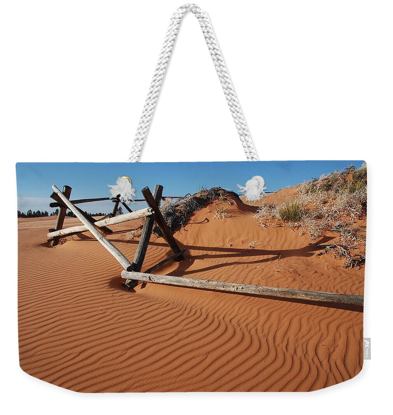 Pink Sand Weekender Tote Bag featuring the photograph Coral Pink Sand Waves by Donna Jackson