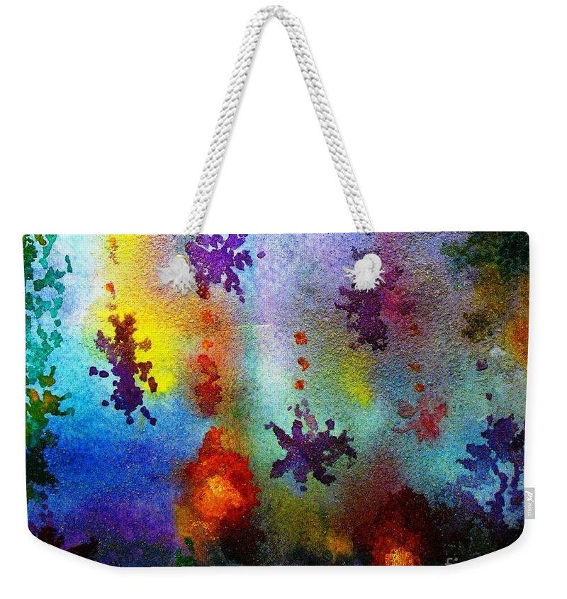 Coral Reef Weekender Tote Bag featuring the painting Coral Reef Impression 2 by Hazel Holland