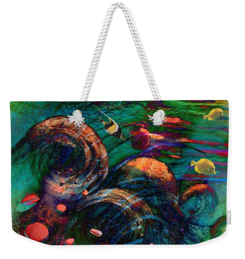 Coral Reef Weekender Tote Bag featuring the digital art Coral Reef 2 by Lisa Yount