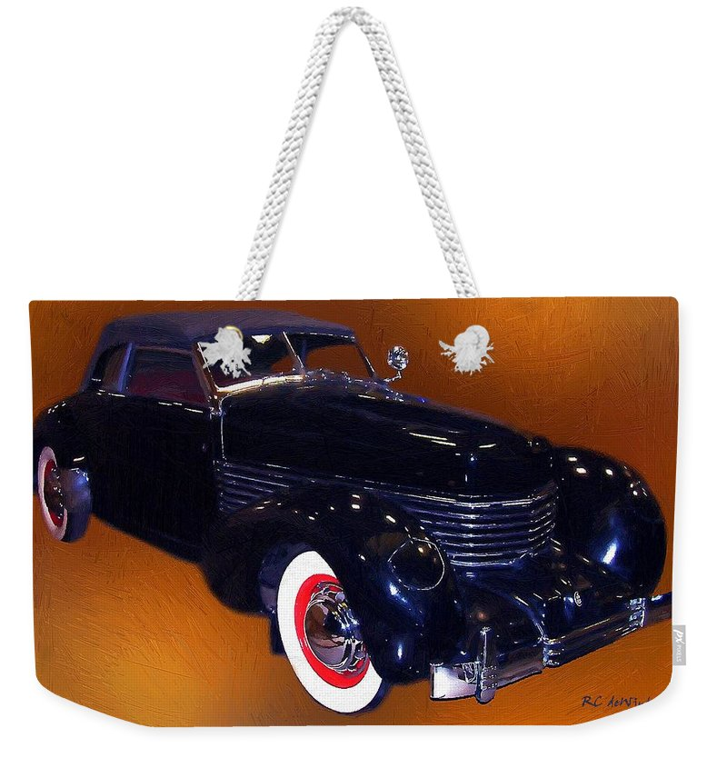 Automobile Weekender Tote Bag featuring the painting Cord Phaeton 1936 by RC DeWinter