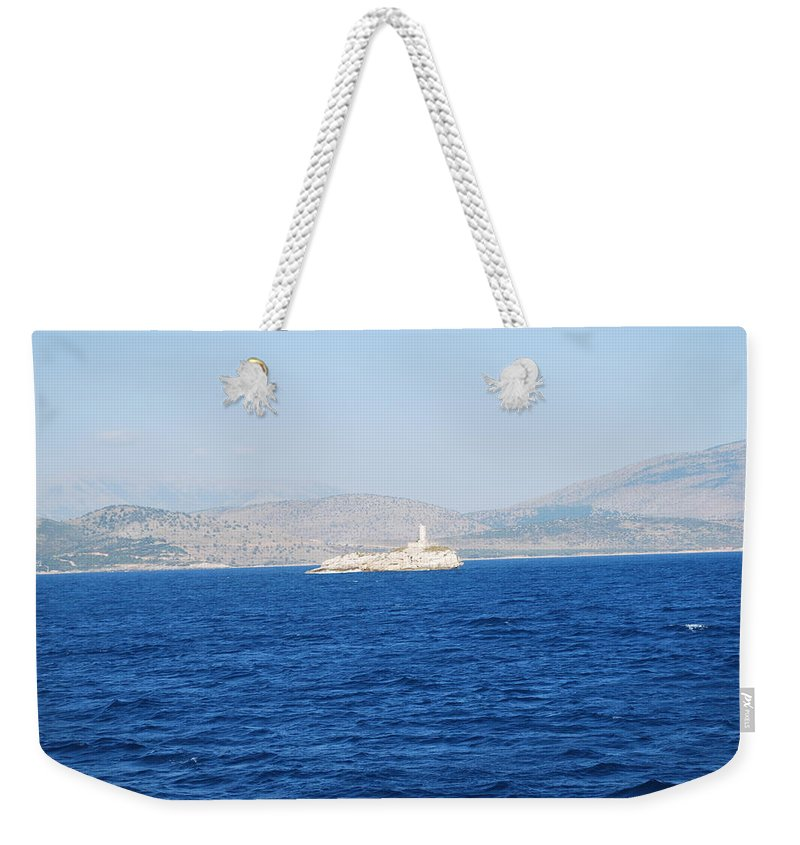 Corfu Channel Weekender Tote Bag featuring the photograph Corfu Channel Lighthouse by George Katechis