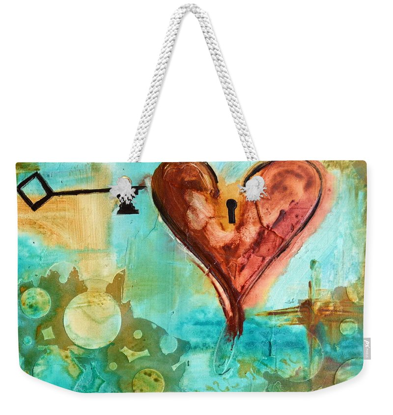Heart Weekender Tote Bag featuring the painting 1 Corinthians 13 by Ivan Guaderrama