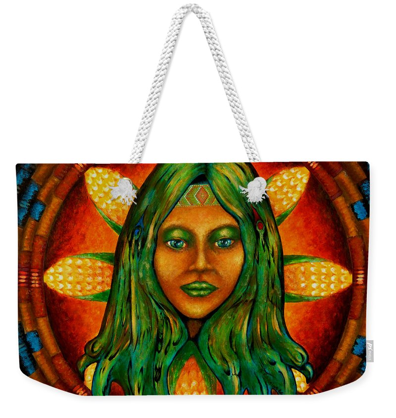 Native American Weekender Tote Bag featuring the painting Corn Maiden by Kevin Chasing Wolf Hutchins