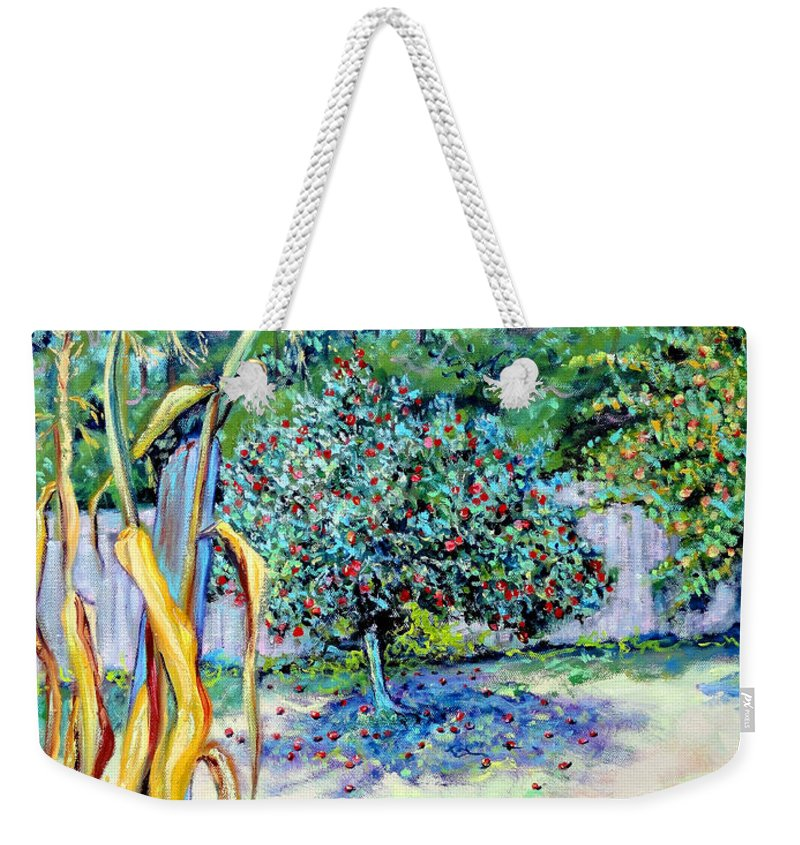 Northern California Garden Painting Weekender Tote Bag featuring the painting Corn Stalk And Apple Tree Autumn Lovers by Asha Carolyn Young