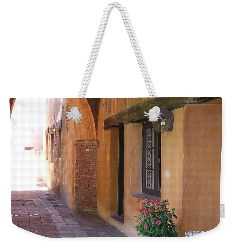 California Missions Weekender Tote Bag featuring the photograph Corner Arch, Mission San Juan Capistrano, California by Denise Strahm
