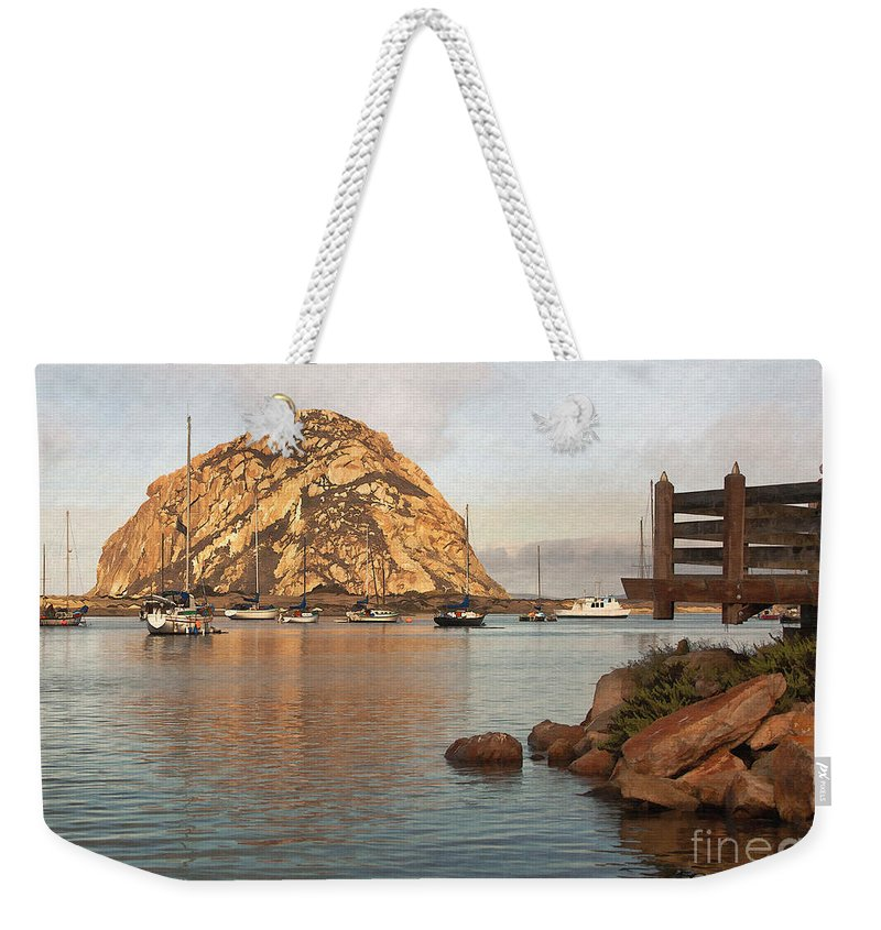 Morro Rock Weekender Tote Bag featuring the digital art Corner Harbor by Sharon Foster