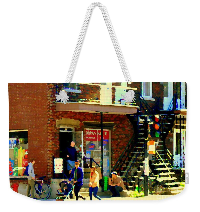 Convenience Stores Weekender Tote Bag featuring the painting Corner Laurier Marche Maboule Depanneur Summer Stroll With Baby Carriage Montreal Street Scene by Carole Spandau