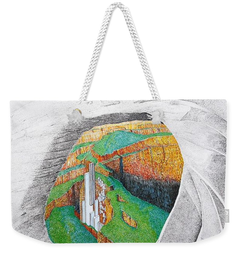Rocks Weekender Tote Bag featuring the painting Cornered Stones by A Robert Malcom
