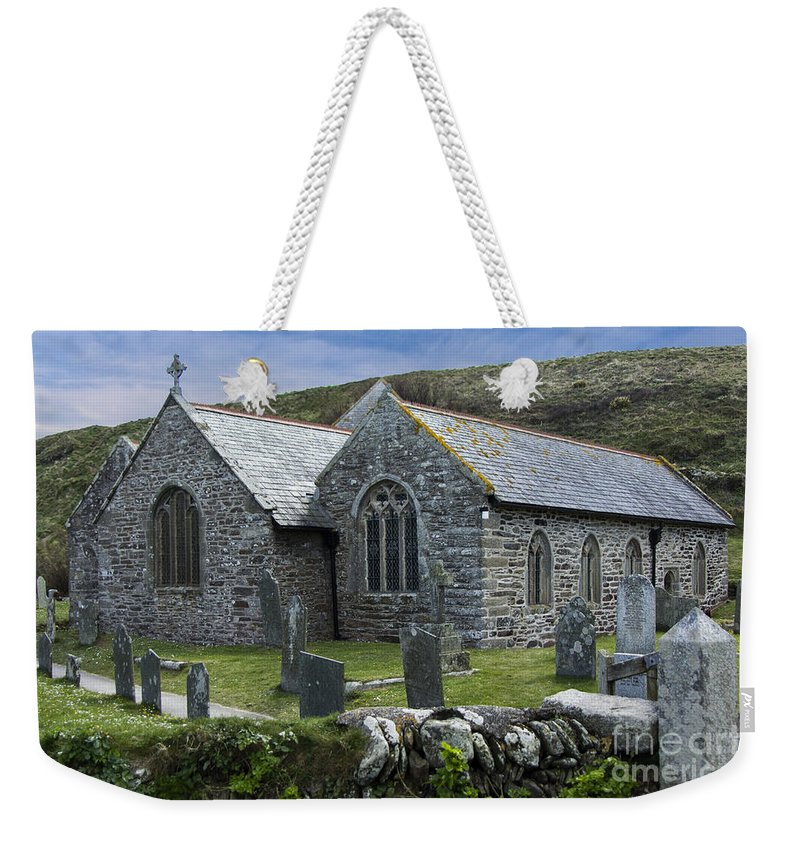 Landscape Weekender Tote Bag featuring the photograph Cornish Seascape St Winwaloe Church by Brian Roscorla