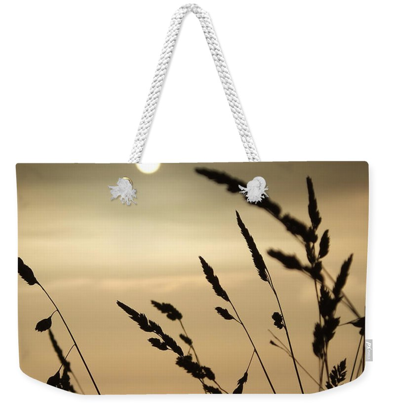 Calm Weekender Tote Bag featuring the photograph Cornwall Misty Sunset One by Coventry Wildeheart