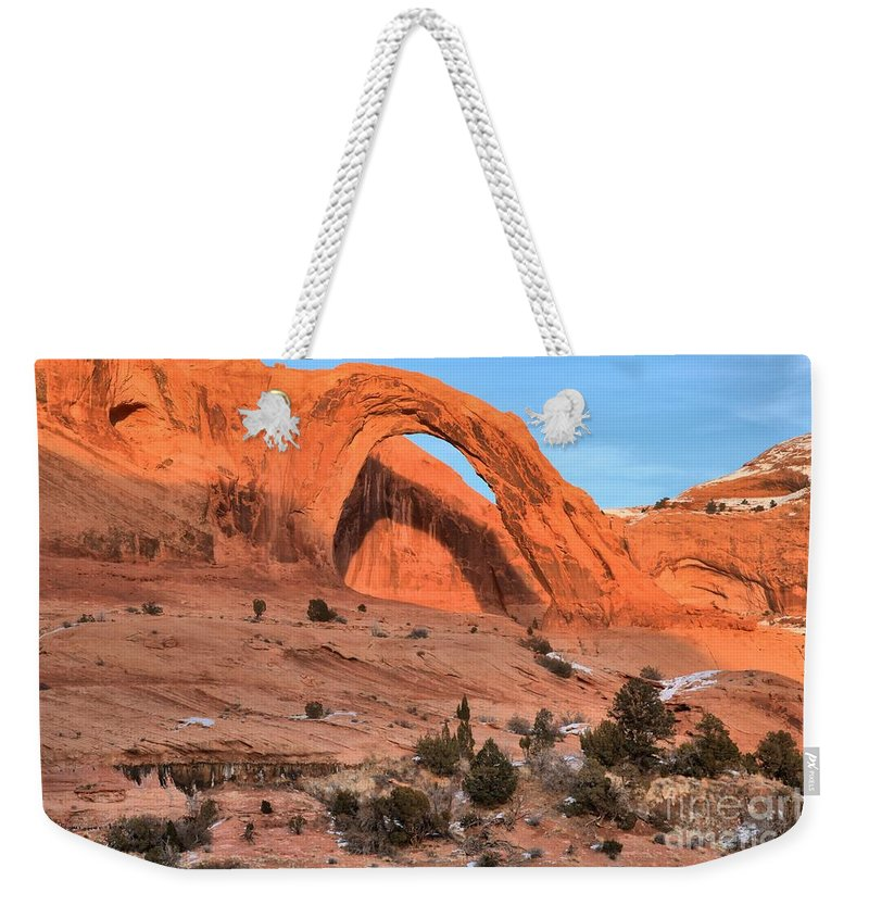 Coronoa Arch Weekender Tote Bag featuring the photograph Corona Arch Landscape by Adam Jewell