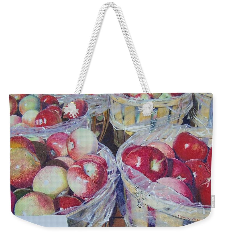 Apple Weekender Tote Bag featuring the mixed media Cortland Apples by Constance Drescher