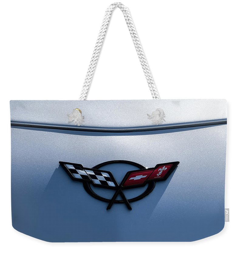 Chevrolet Weekender Tote Bag featuring the digital art Corvette C5 Badge by Douglas Pittman