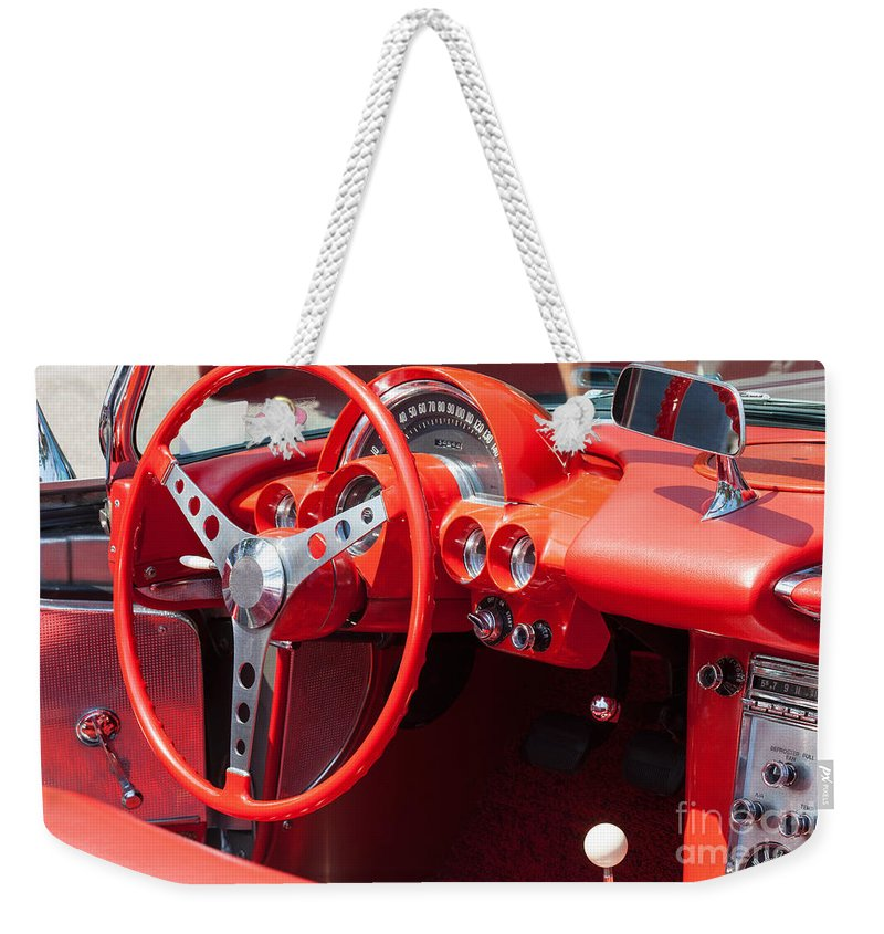 Automobile Weekender Tote Bag featuring the photograph Corvette Dashboard by Diane Macdonald