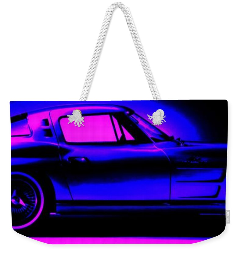 Weekender Tote Bag featuring the photograph Corvette In Blue by George Pedro