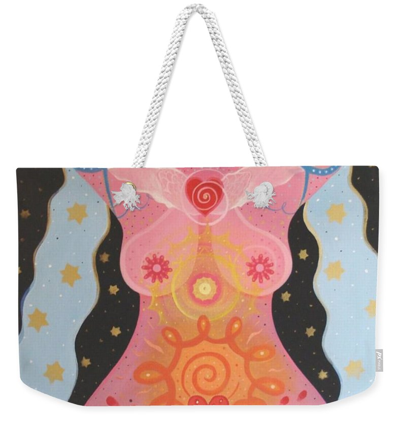Goddess Weekender Tote Bag featuring the painting Cosmic Carnival I V Aka Creation by Helena Tiainen