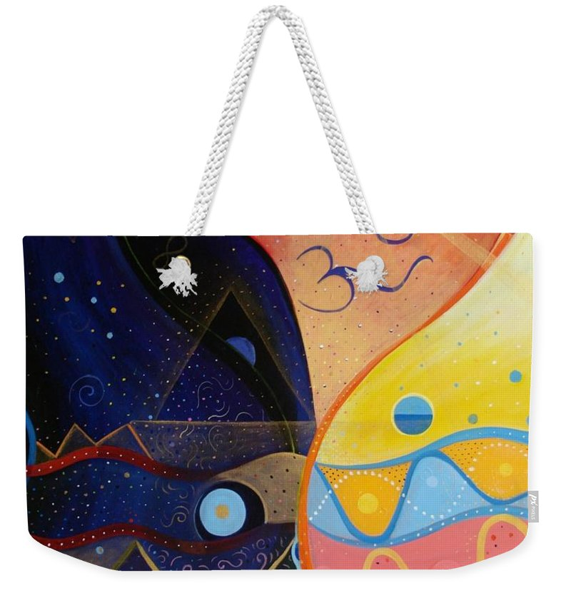 Value Weekender Tote Bag featuring the painting Cosmic Carnival Vlll Aka Sacred And Profane by Helena Tiainen