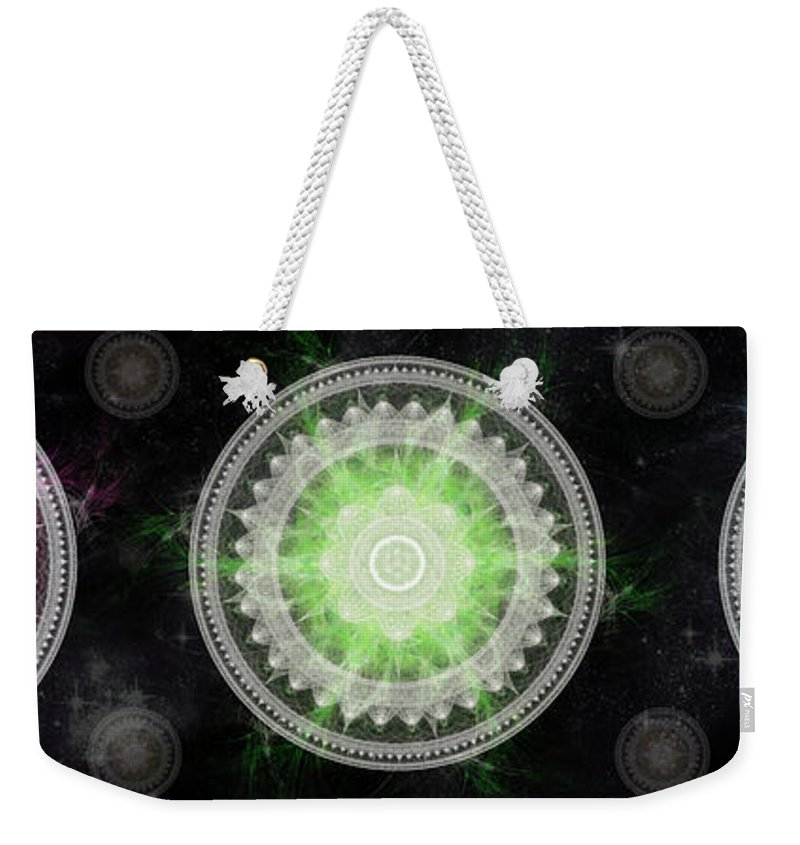 Corporate Weekender Tote Bag featuring the digital art Cosmic Medallians Rgb 1 by Shawn Dall