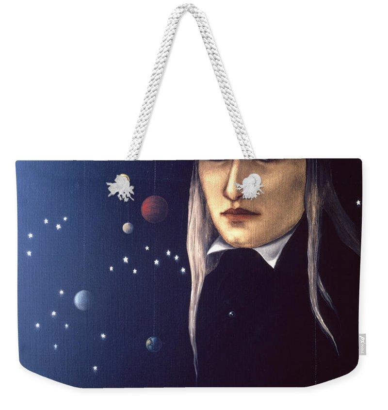 Cosmic Weekender Tote Bag featuring the painting Cosmic Pilgrim by Jane Whiting Chrzanoska