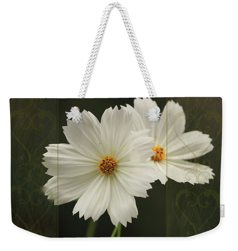 Cosmos Weekender Tote Bag featuring the photograph Cosmos And Hearts by Karen Beasley