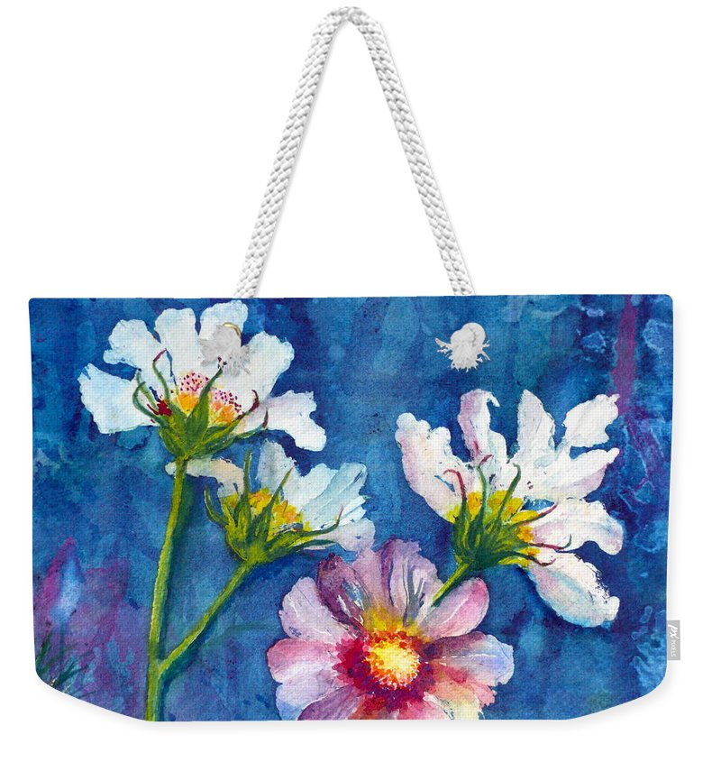 Cosmos Weekender Tote Bag featuring the painting Cosmos Detail I by Anna Ruzsan
