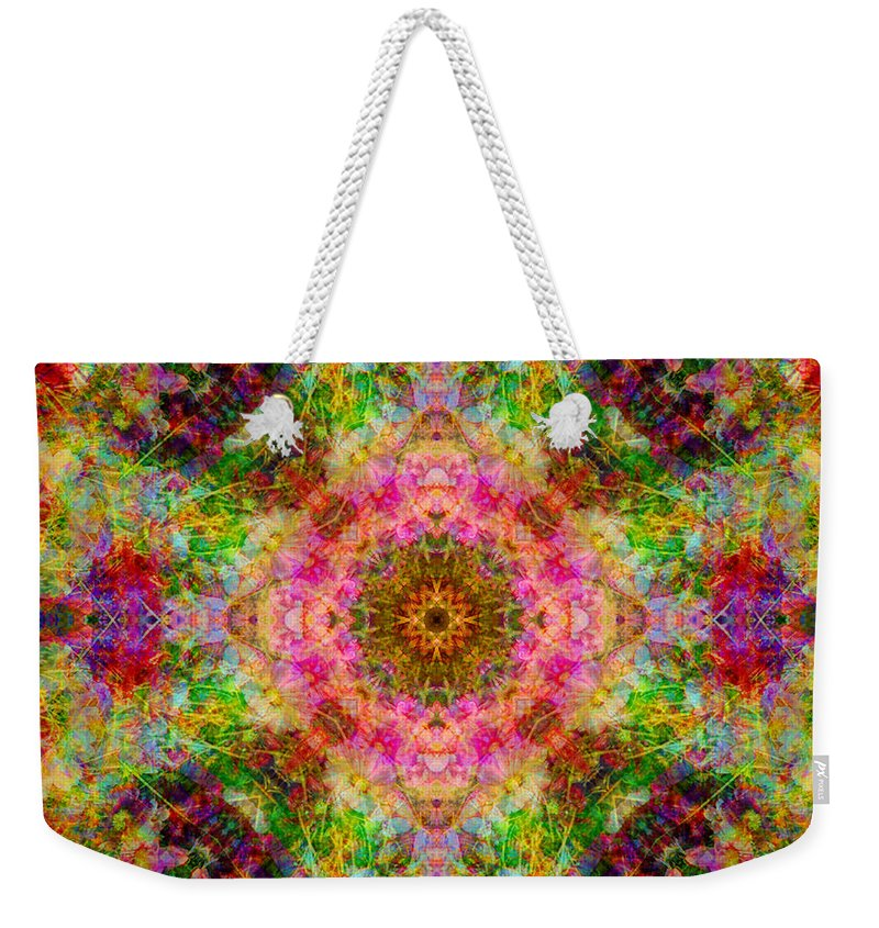 Rainbow Weekender Tote Bag featuring the photograph Cosmos Pink Sun Diamond Mandala by Susan Bloom