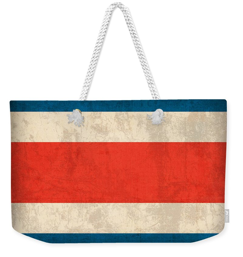 Costa Rica Flag Vintage Distressed Finish Weekender Tote Bag featuring the mixed media Costa Rica Flag Vintage Distressed Finish by Design Turnpike