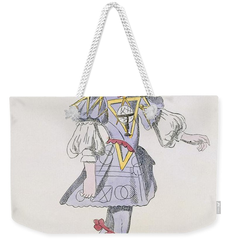 Baroque Weekender Tote Bag featuring the drawing Costume Design For Geometry In A 17th by French School