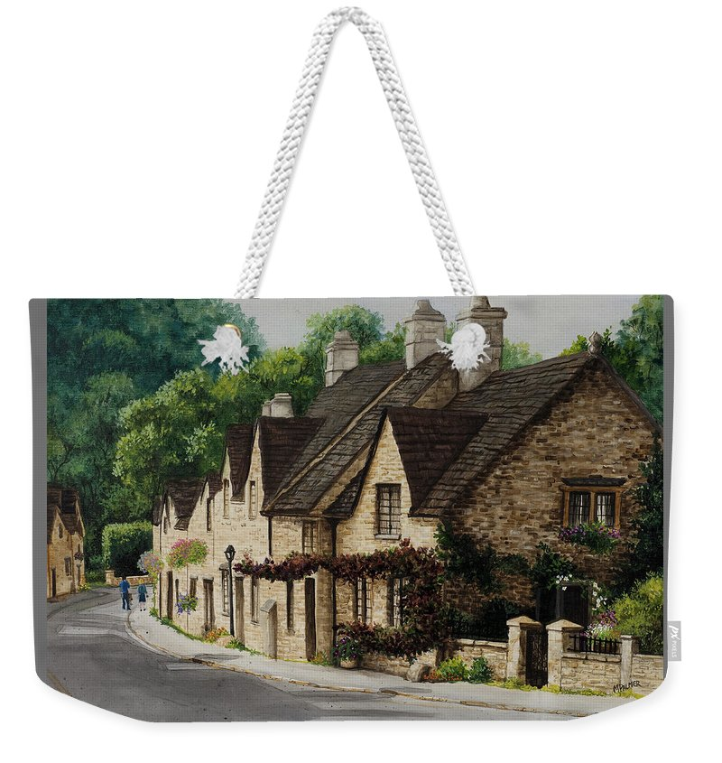 Architecture Weekender Tote Bag featuring the painting Cotswold Street by Mary Palmer