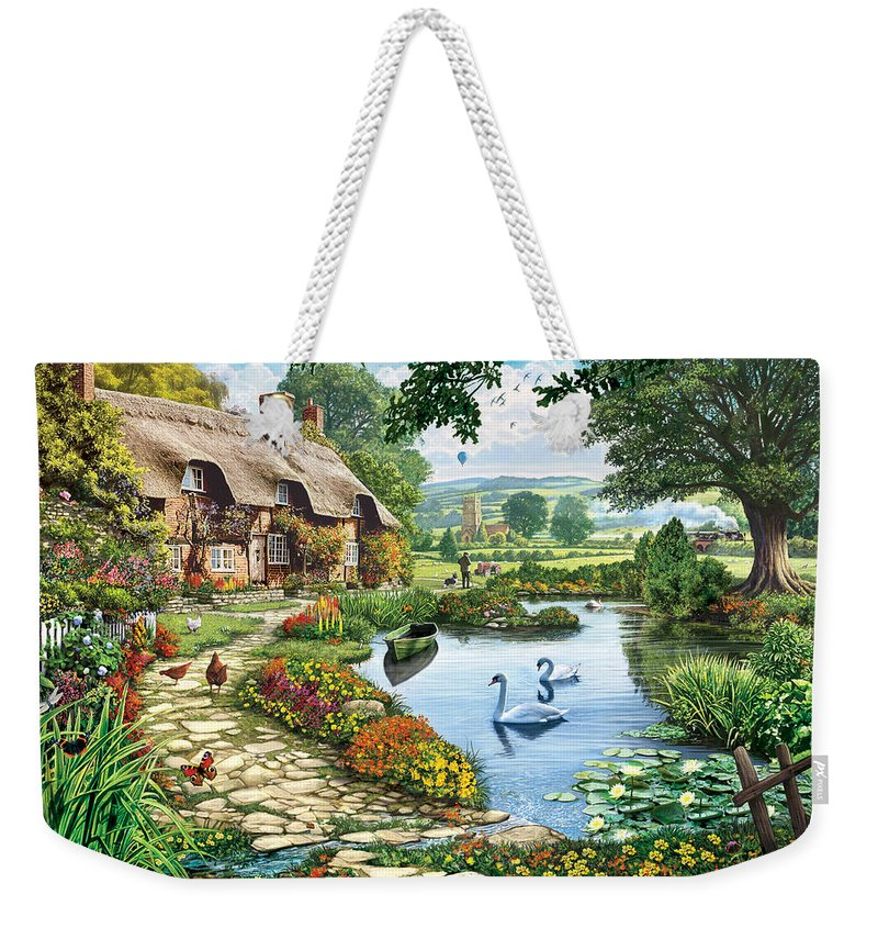 Steve Crisp Weekender Tote Bag featuring the photograph Cottage By The Lake by Steve Crisp