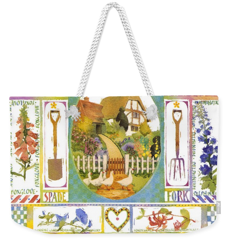 Julia Rowntree Weekender Tote Bag featuring the photograph Cottage Garden by Julia Rowntree