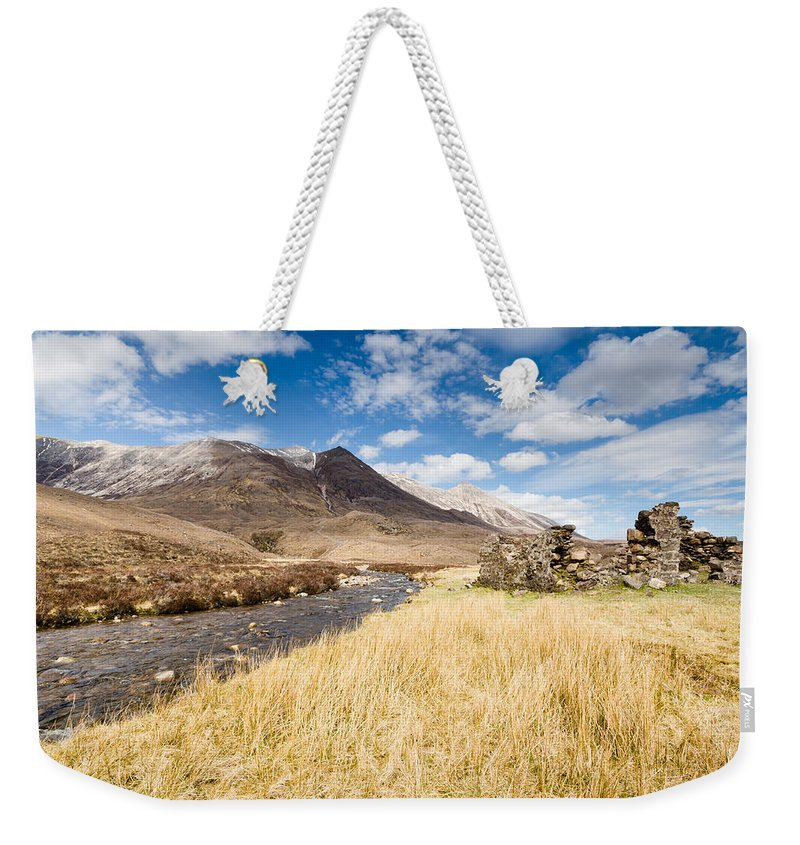 Beck Weekender Tote Bag featuring the photograph Cottage In Ruins At Bienn Eighe by David Head