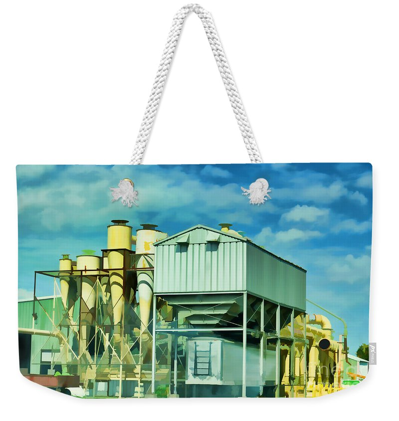 Industry Weekender Tote Bag featuring the photograph Cotten Gin Digital Paint by Debbie Portwood
