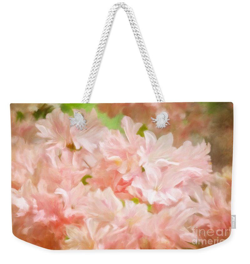 Azalea Weekender Tote Bag featuring the photograph Cotton Candy Pink Azaleas by Lois Bryan