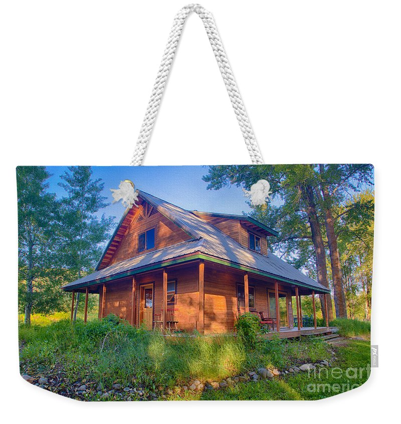 2014 Weekender Tote Bag featuring the digital art Cottonwood Cottage by Omaste Witkowski