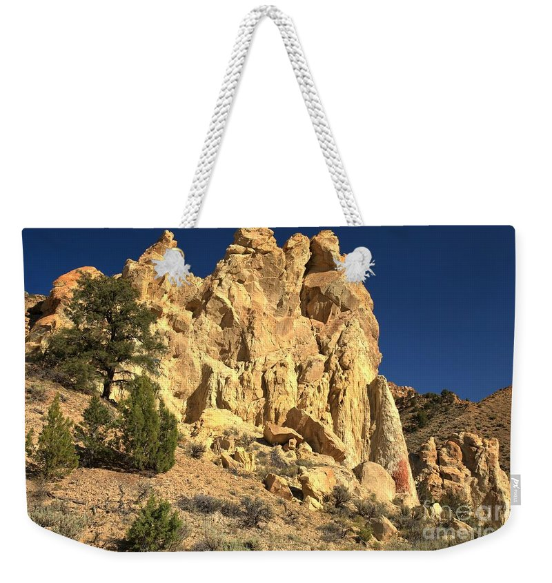 Cottonwood Road Weekender Tote Bag featuring the photograph Cottonwood Yellow Towers by Adam Jewell