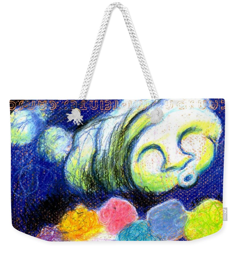 Cloud Weekender Tote Bag featuring the painting Cloud Flowers by Genevieve Esson