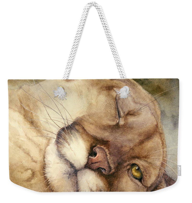 Cougar Weekender Tote Bag featuring the painting Cougar  I See You   by Bonnie Rinier