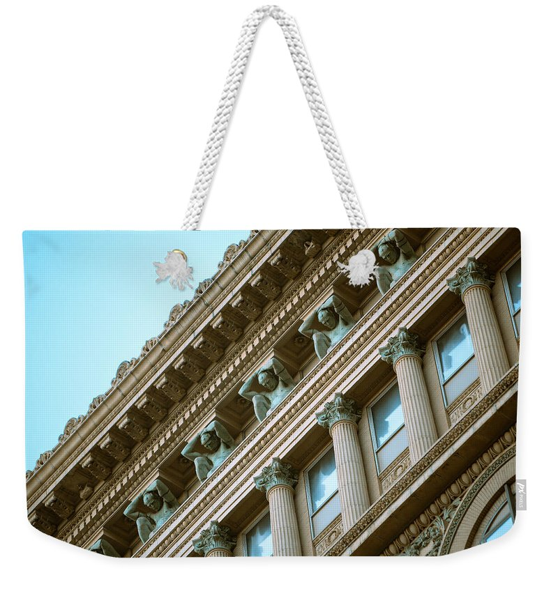 Pittsburgh Night Alley Skyline Dirty Black And White Pa. Pennsylvania Jimmy Taaffe Urban Rough Ruff Photographs Weekender Tote Bag featuring the photograph Counterparts by Jimmy Taaffe