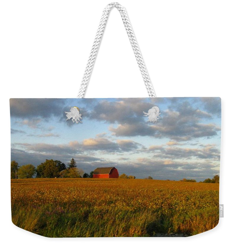 Landscape Weekender Tote Bag featuring the photograph Country Backroad by Rhonda Barrett