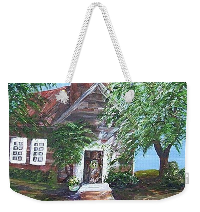 Church Weekender Tote Bag featuring the painting Country Church by Eloise Schneider Mote