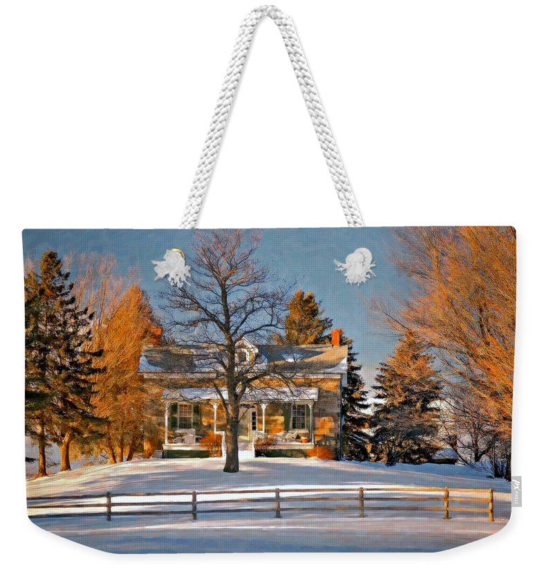 Country Living Weekender Tote Bag featuring the photograph Country Home Oil by Steve Harrington