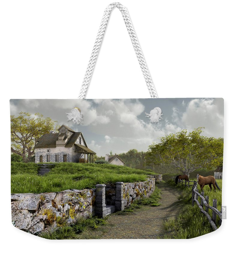 Country Weekender Tote Bag featuring the digital art Country Road by Cynthia Decker