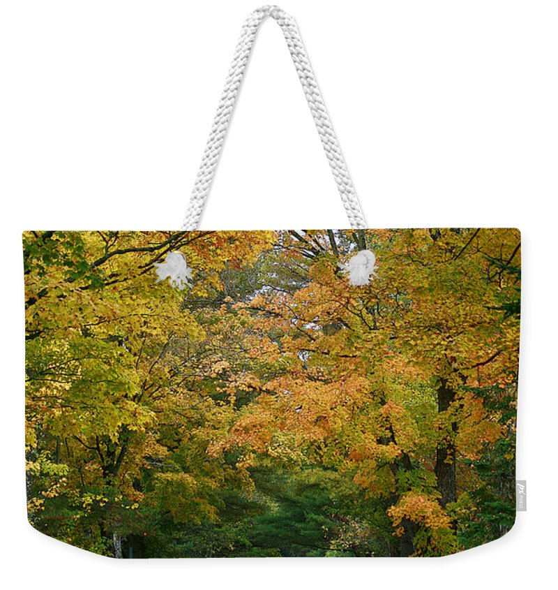 Fall Weekender Tote Bag featuring the photograph Country Road Fall Vermont by Deborah Benoit