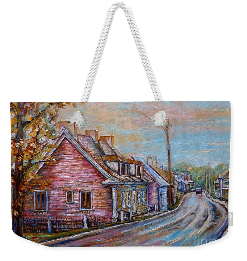 Ile D'orleans Weekender Tote Bag featuring the painting Country Road Pink House by Carole Spandau