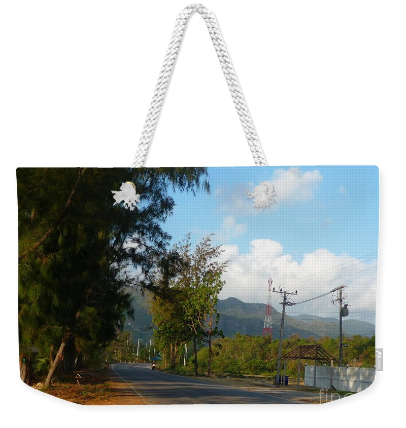 Landscape Weekender Tote Bag featuring the photograph Country Road by Pusita Gibbs
