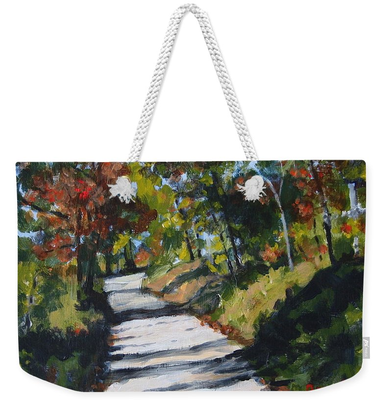 Landscape Weekender Tote Bag featuring the painting Country Road Two by Jan Bennicoff