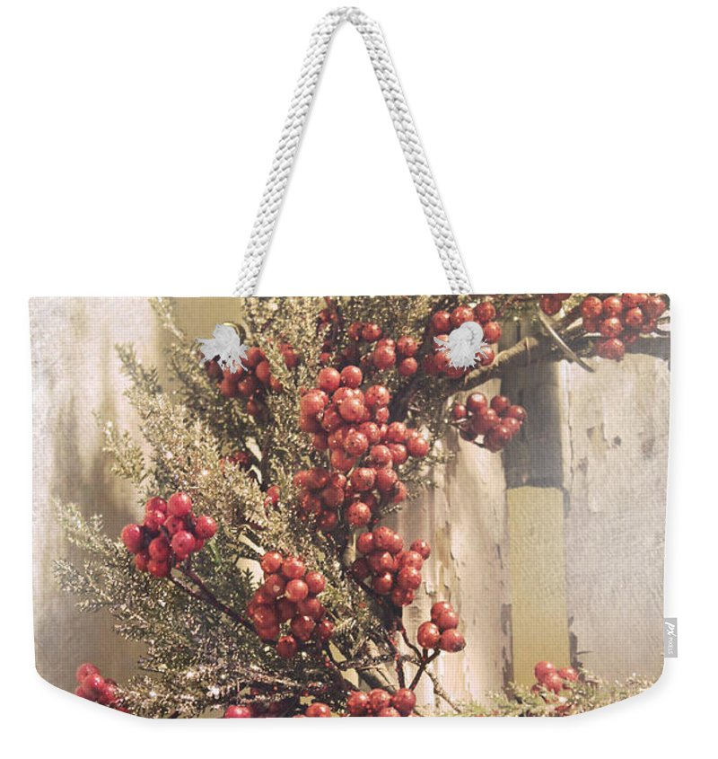 Christmas Weekender Tote Bag featuring the photograph Country Wreath With Red Berries by Robin Lewis