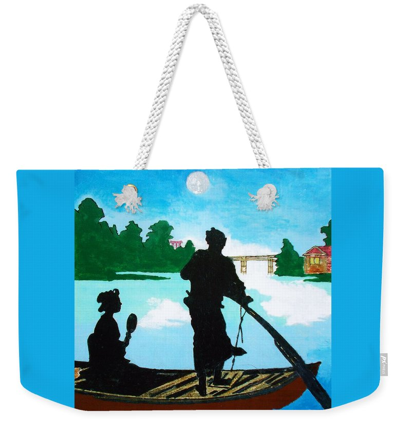 Original Weekender Tote Bag featuring the painting Coppia Alla Luce Della Luna by Roberto Prusso