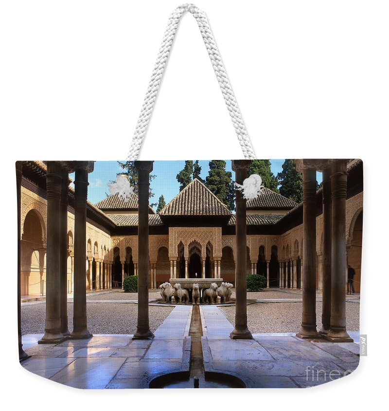 The Alhambra Weekender Tote Bag featuring the photograph Court Of The Lions by Guido Montanes Castillo